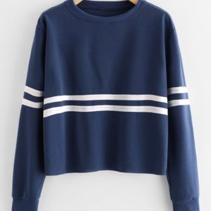 Tops - Blue and White Long Sleeved Crop Top